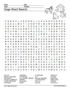 Dog Name Word Search
