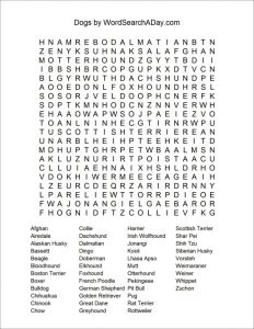 Dog Word Search Puzzles Printable