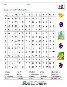 Easter Word Search 5th Grade