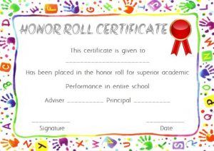 Elementary Honor Roll Certificate Template