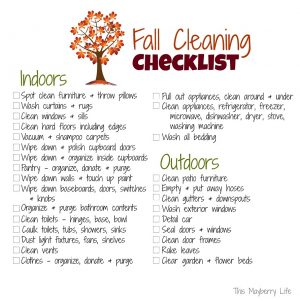 Fall Cleaning Checklist to Print