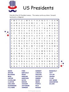 Free Printable Presidents Day Word Search