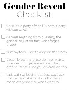 Gender Reveal Party Planning Checklist