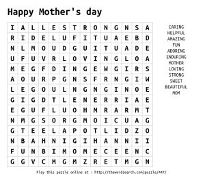 Happy Mother's Day Word Search