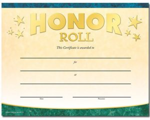 Honor Roll Certificate Images