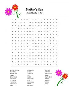 Mother's Day Word Search Worksheet