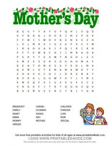 Mother's Day Word Search for Preschool