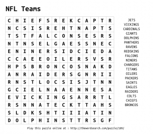 NFL Games Word Search