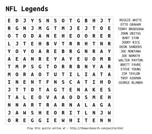 NFL Teams Word Search to Print