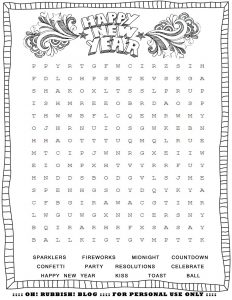 New Years Themed Word Search