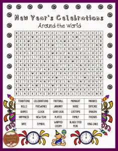 New Years Word Search to Print
