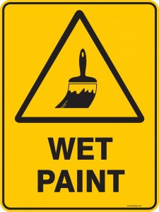 Pictures of wet Paint Signs