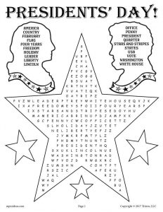 Presidents Day Word Search to Print