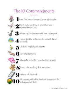 Printable Ten Commandments for Preschoolers