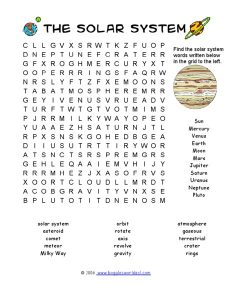 Solar System Word Search 2nd Grade