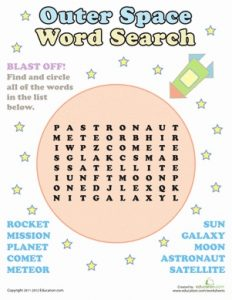 Space Word Search First Grade