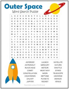 Space Word Search Free printable