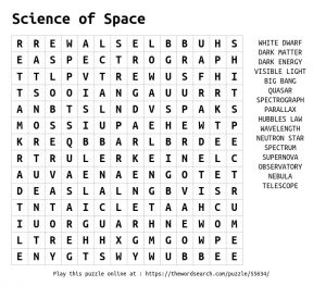 Space Word Search to Print