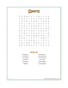 Sports Word Search Easy