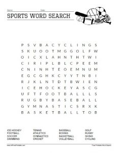 Sports Word Searches Printable