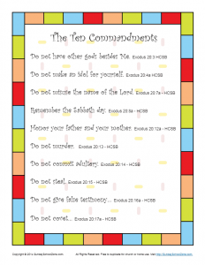 Ten Commandments Bible Printable