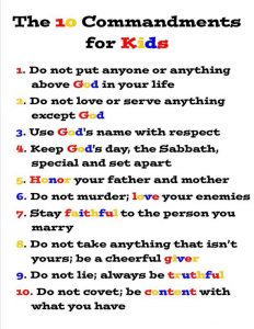 Ten Commandments Printable for Kids