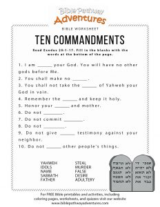 Ten Commandments Quiz Printable