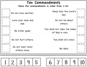 Ten Commandments Worksheet