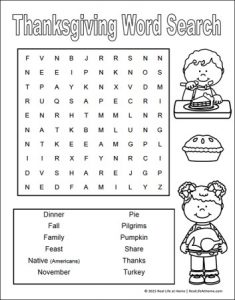Thanksgiving Word Search for 2nd Grade