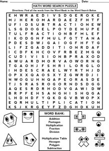 Third Grade Word Search Puzzles