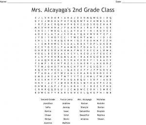 Word Search for 2nd Grade