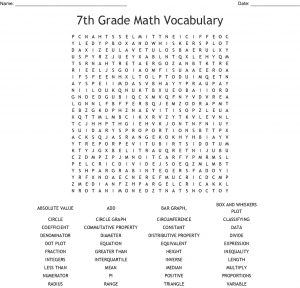 7th Grade Geometry Terms Word Search