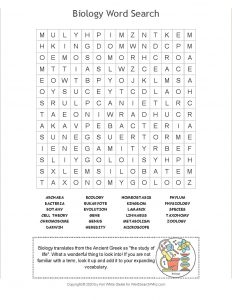Biology Word Search Image