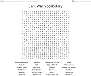 Civil War Word Search Puzzles