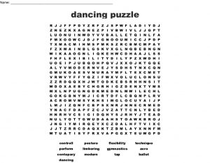 Dance Word Search Puzzles