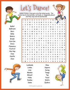 Dance Word Search for Kids