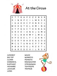 Easy Circus Word Search