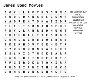 James Bond Word Search Image