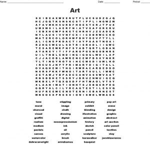 Printable Art Word Search Puzzles