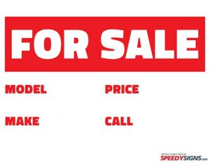 Printable Car for Sale Sign Template