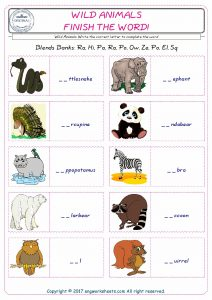 Wild Animals Unscramble the Words